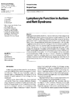 Lymphocyte function in autism and Rett syndrome