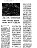 "Pat Sommers Cronin, ""North Beverly doctor shows art at museum"", Beverly Review, Chicago, IL, April 19, 2000"