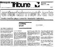 "Fran Addington, ""Looking at art"", Minneapolis Tribune, Minneapolis, MN, March 21, 1982"
