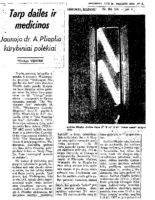 "Vitolis Vengris, ""Between art and medicine,"" Draugas, Chicago, IL, August 19, 1978"