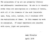 Artist's statements 1977-81