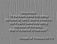 """Jesus said,""""If the flesh came into being because of spirit, that is a marvel, but if spirit came into being because of the body, that is a marvel of marvels"""""""